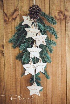 Drewniane gwiazdki z życzeniami