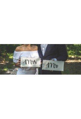 Drewniane tabliczki Mr Mrs